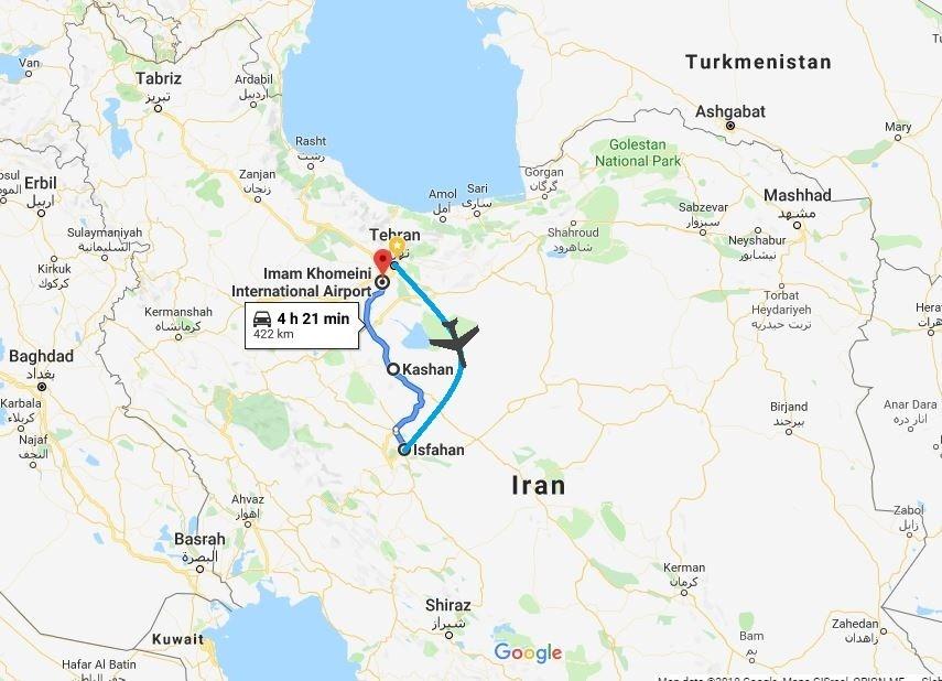 Iran Classic Tour map